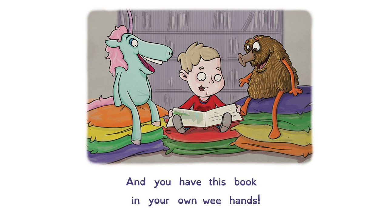 Illustration of a boy reading a book while Unicorn and Haggis characters look on.