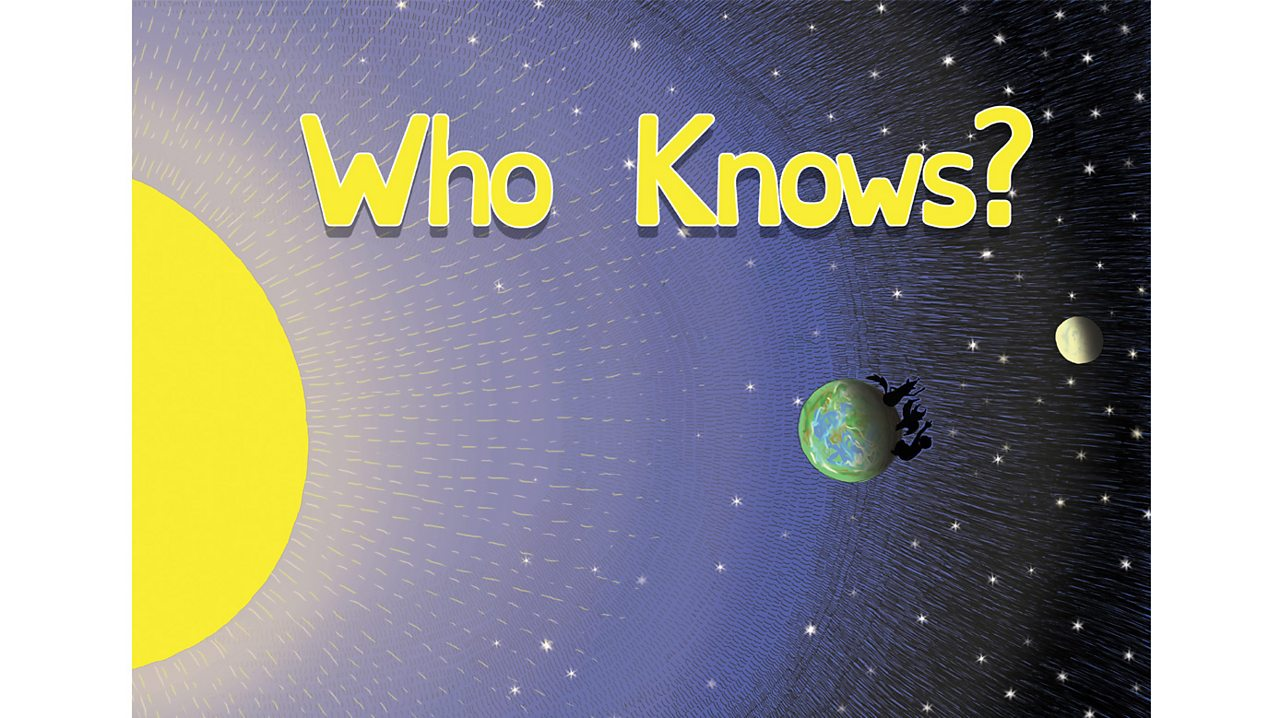 "Book cover with title ""Who Knows?"" and illustration of the Sun, Earth and Moon."