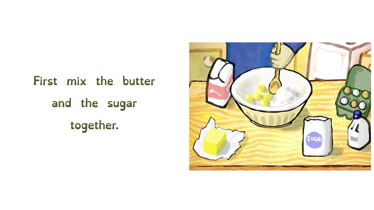 Mixing butter and sugar together in a bowl.