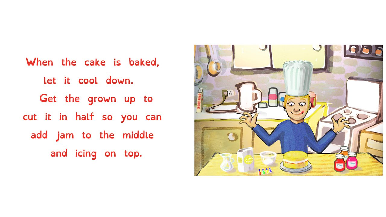 Boy in chef's hat licks his lips as he looks at a cake he has made.