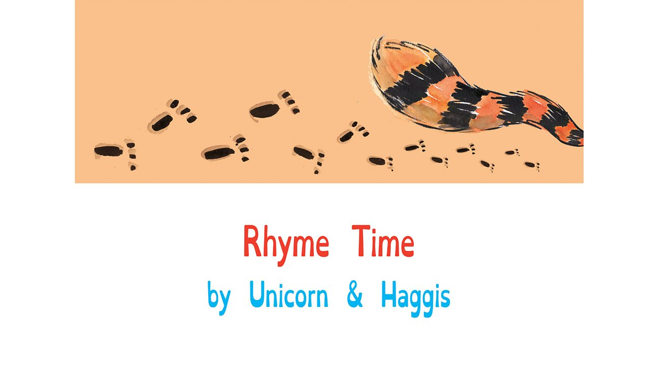 Book page showing animal footprints and a busy tail and the title and authors: Rhyme Time by Unicorn and Haggis.