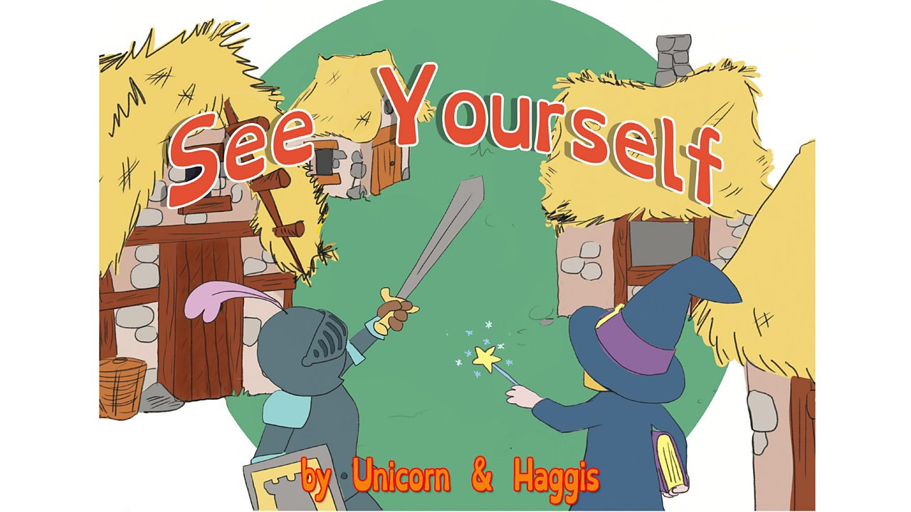 "Book cover with title ""See Yourself"" and image of a knight and a wizard."
