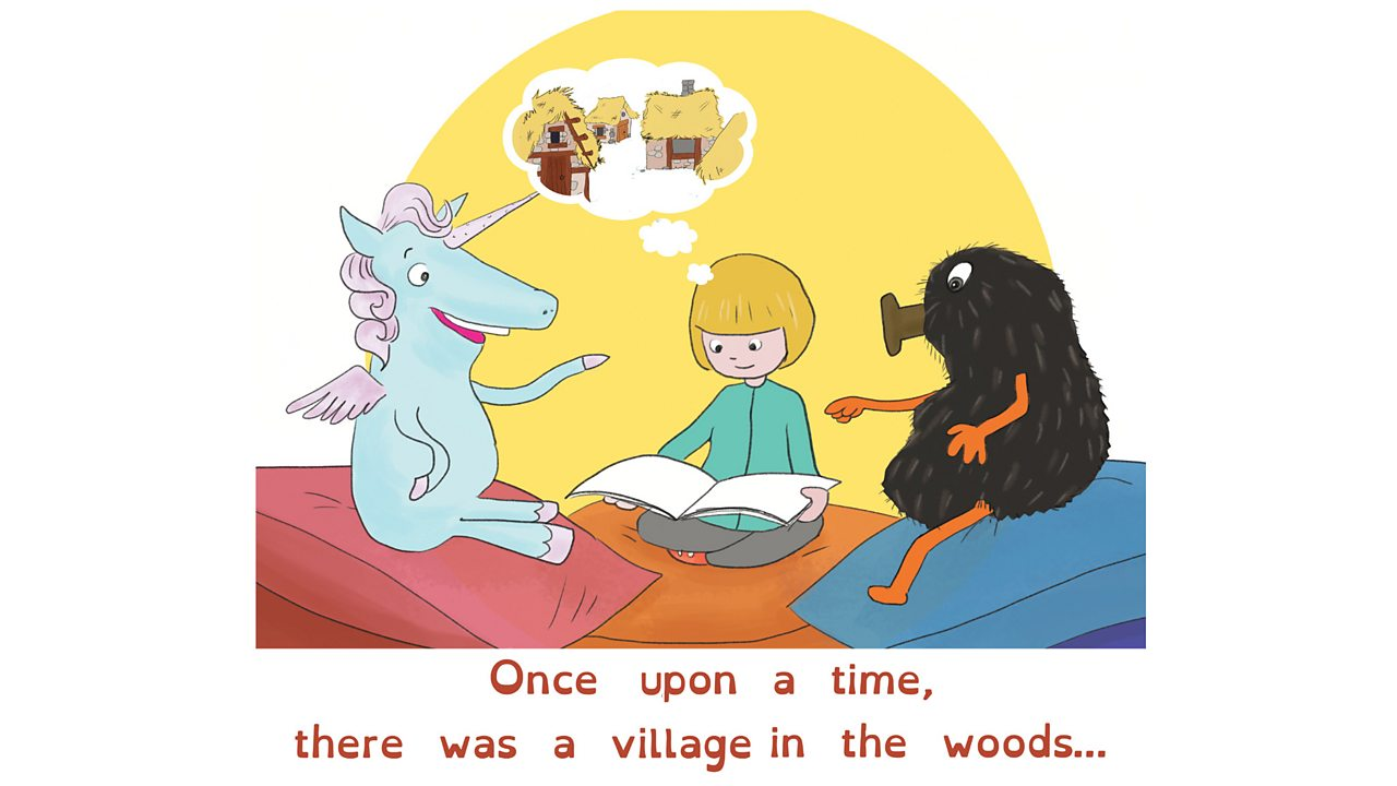 A girl imagines an old village as she reads a book to a unicorn and a haggis.