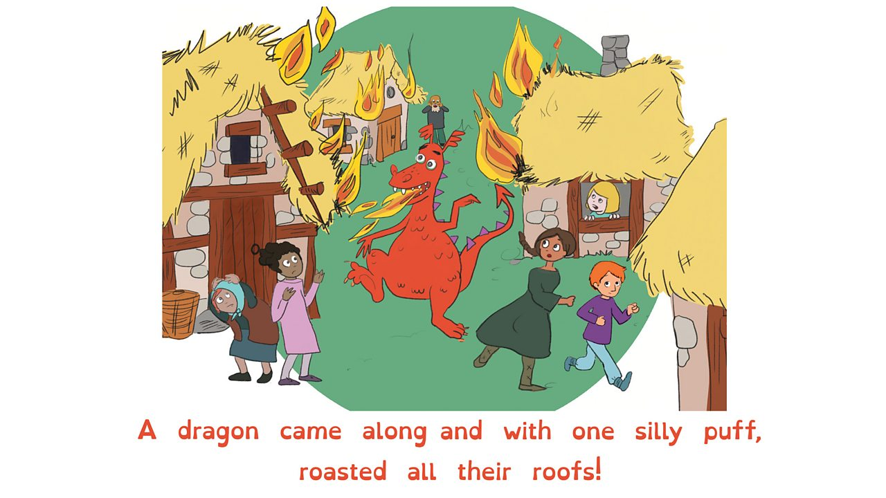 People duck and run as a dragon runs through their village. Houses have roofs on fire.