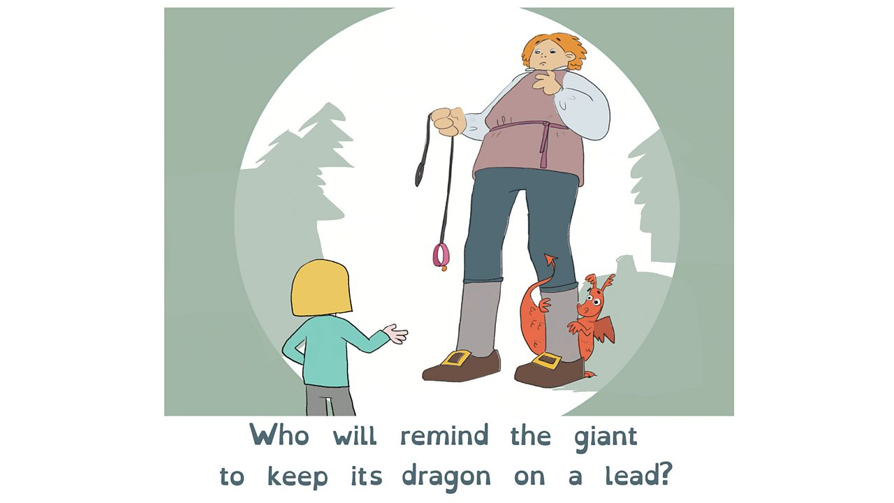 A young girl tells off a giant who is holding an empty lead. A dragon hides behind the giant's leg.