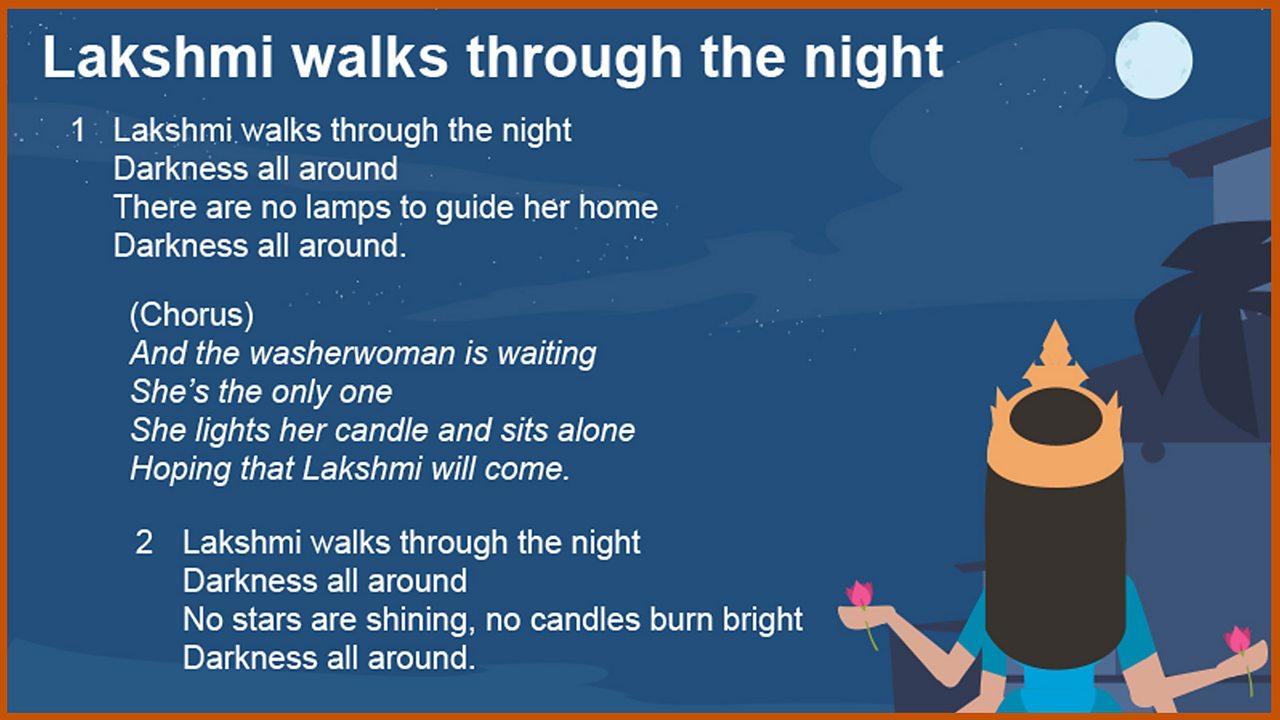 Lakshmi walks through the night