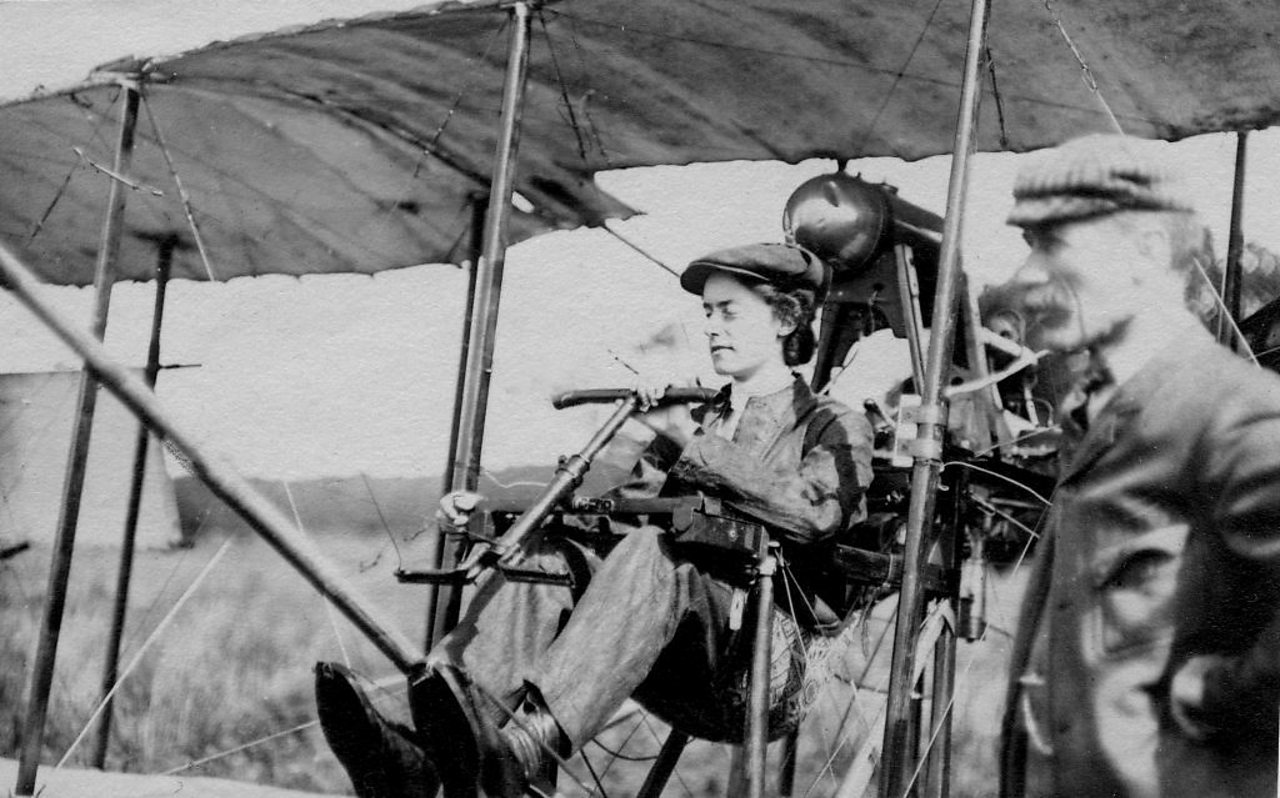 Photograph of Lilian Bland at the controls of her aeroplane the 'Mayfly'