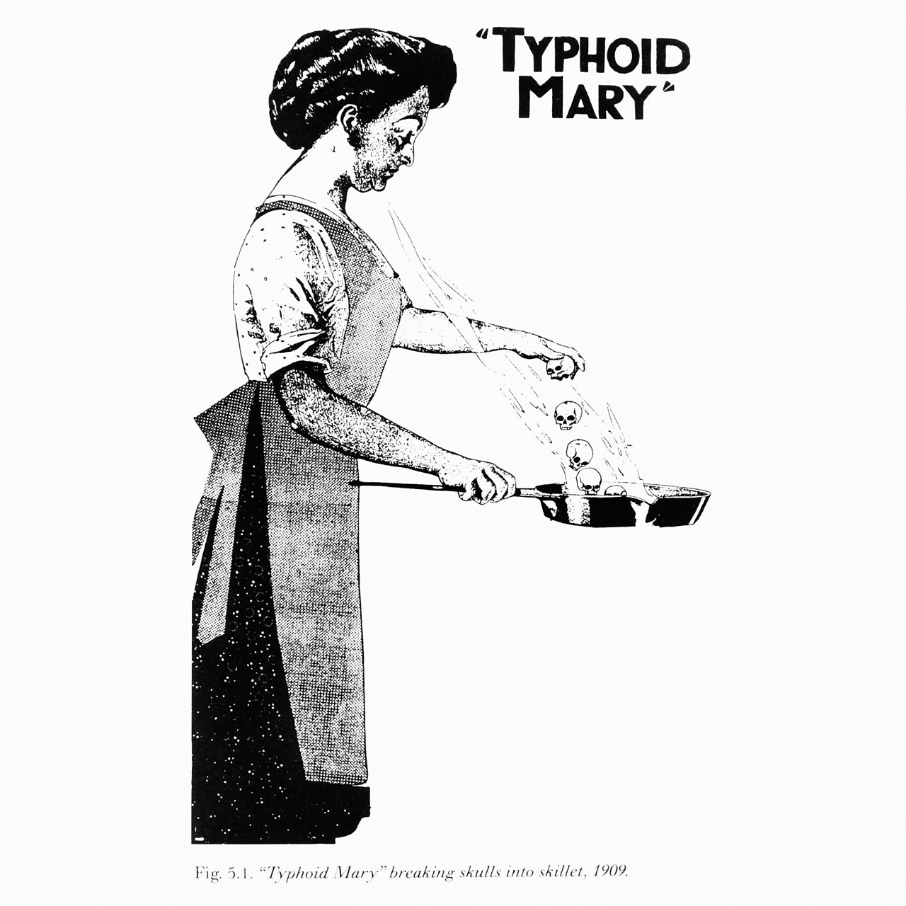 Illustration of Typhoid Mary Mallon from a newspaper in the 1900s