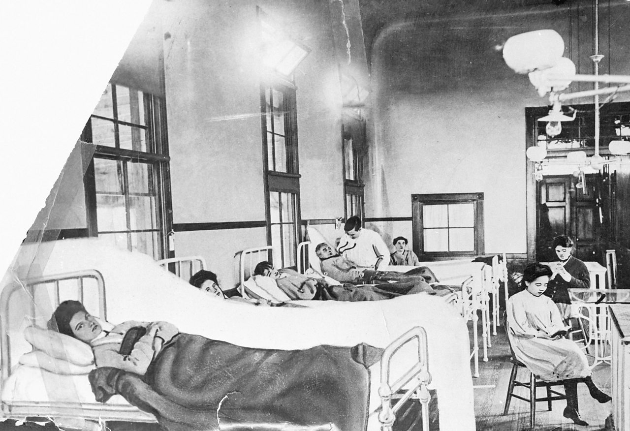 Photograph of Mary Mallon in hospital