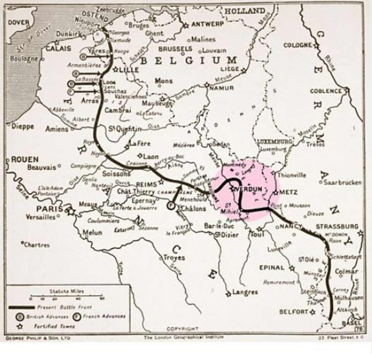 A map illustrating Verdun and the Western Front in 1915.