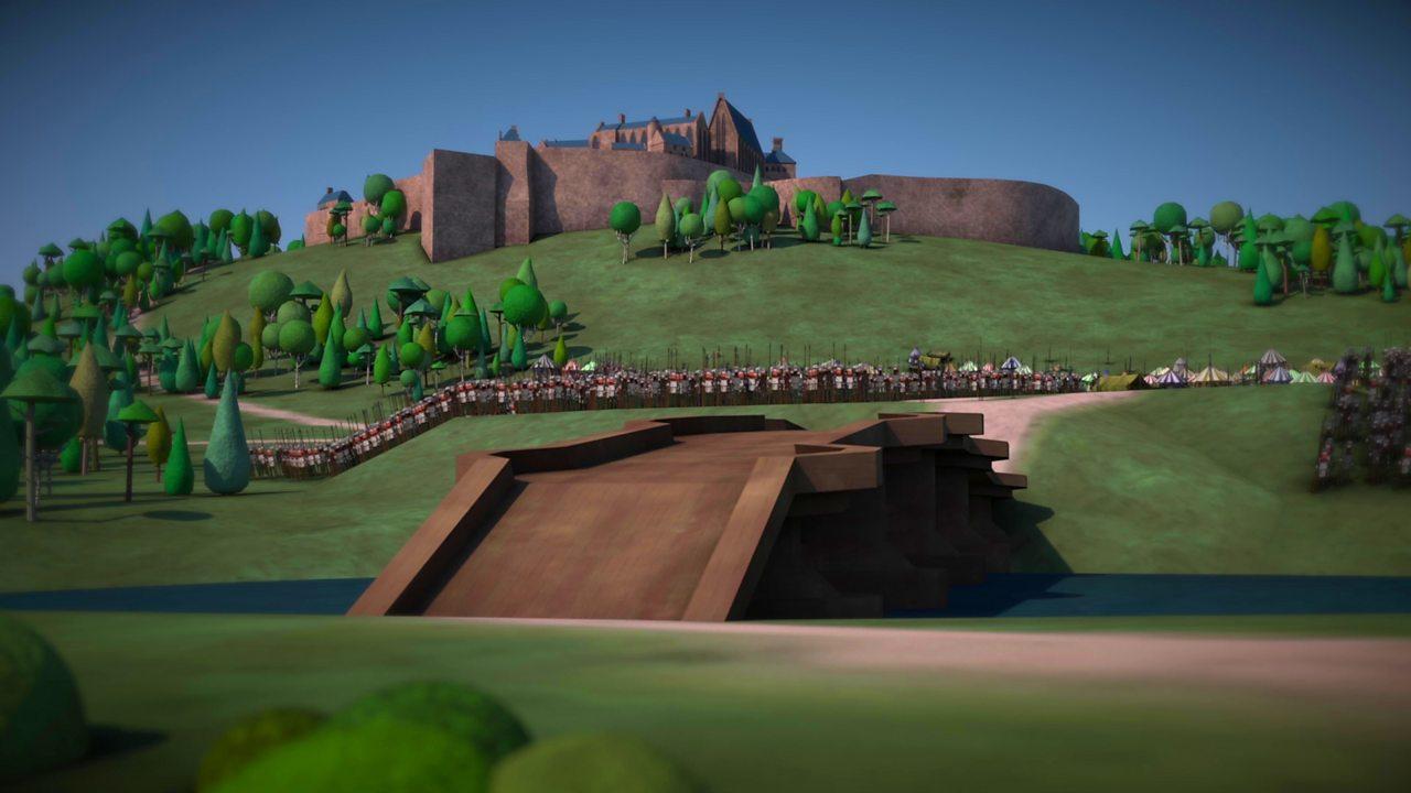 Illustration of the wooden bridge outside Stirling Castle