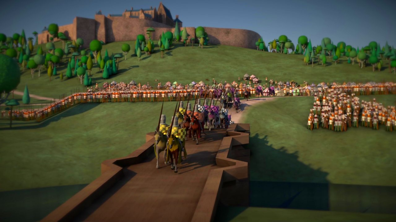 Illustration showing English knights crossing over Stirling bridge