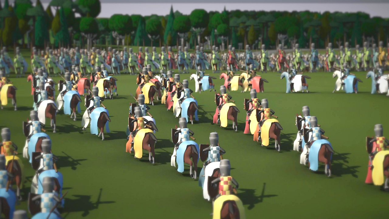 Illustration showing the retreat of Sots knights at Falkirk