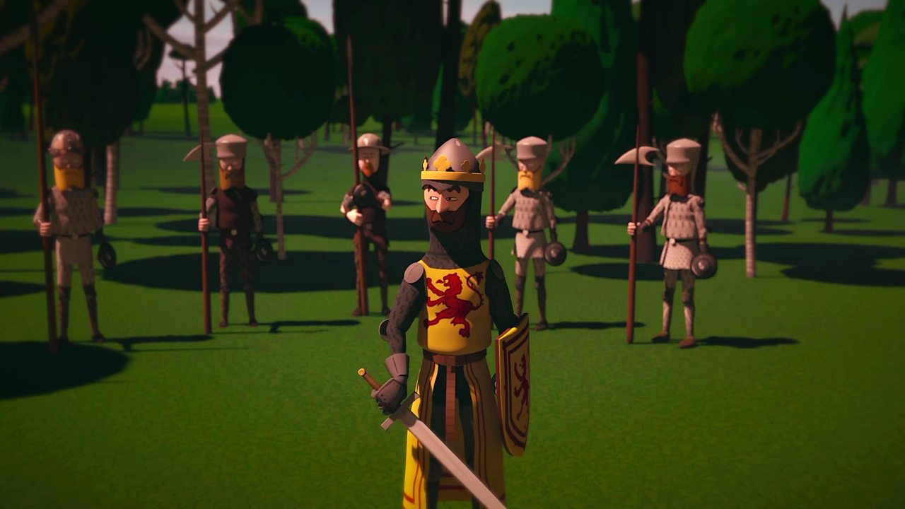 Screengrab from short animation showing Robert the Bruce and his soldiers hiding amongst the trees at the New Park.