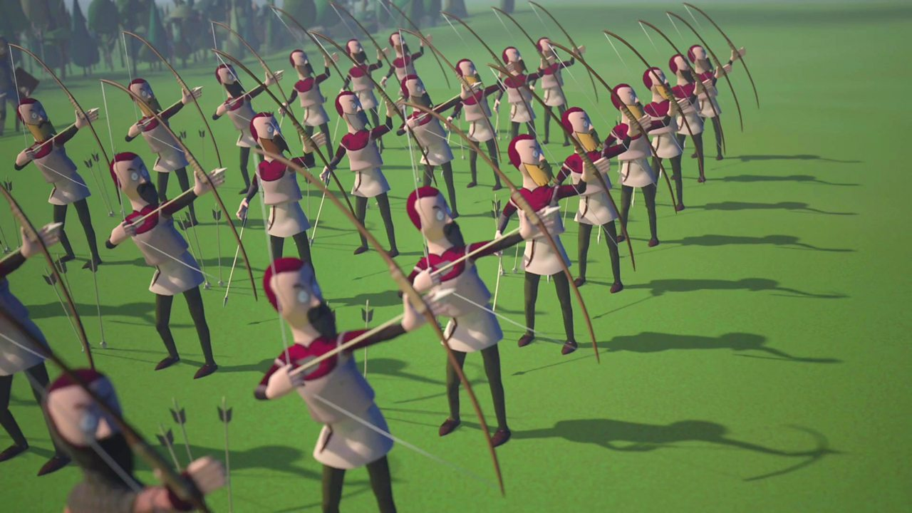 Illustration of Welsh longbows at the Battle of Falkirk