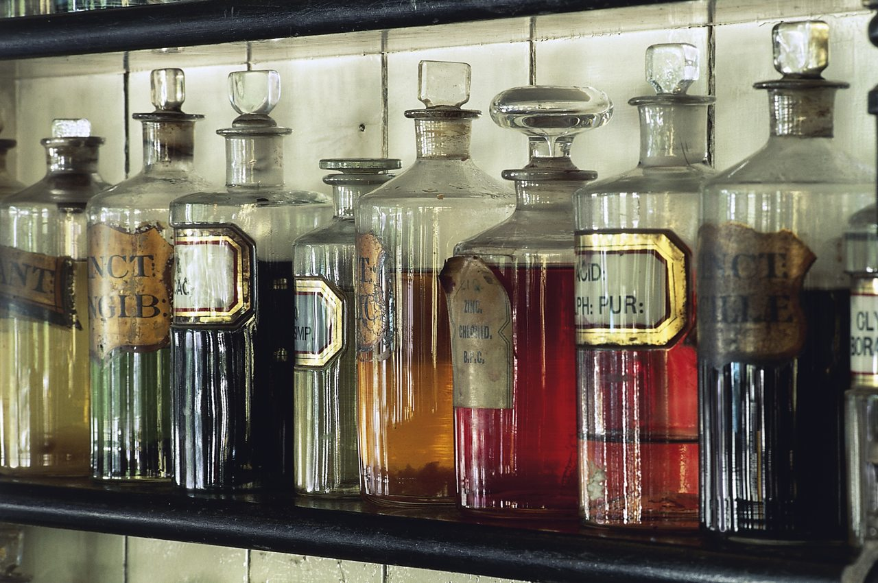 Jars with medicines in a pharmacy