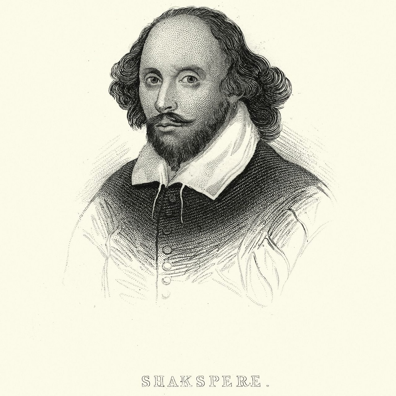 A drawing of William Shakespeare with the word 'Shakspere' underneath.