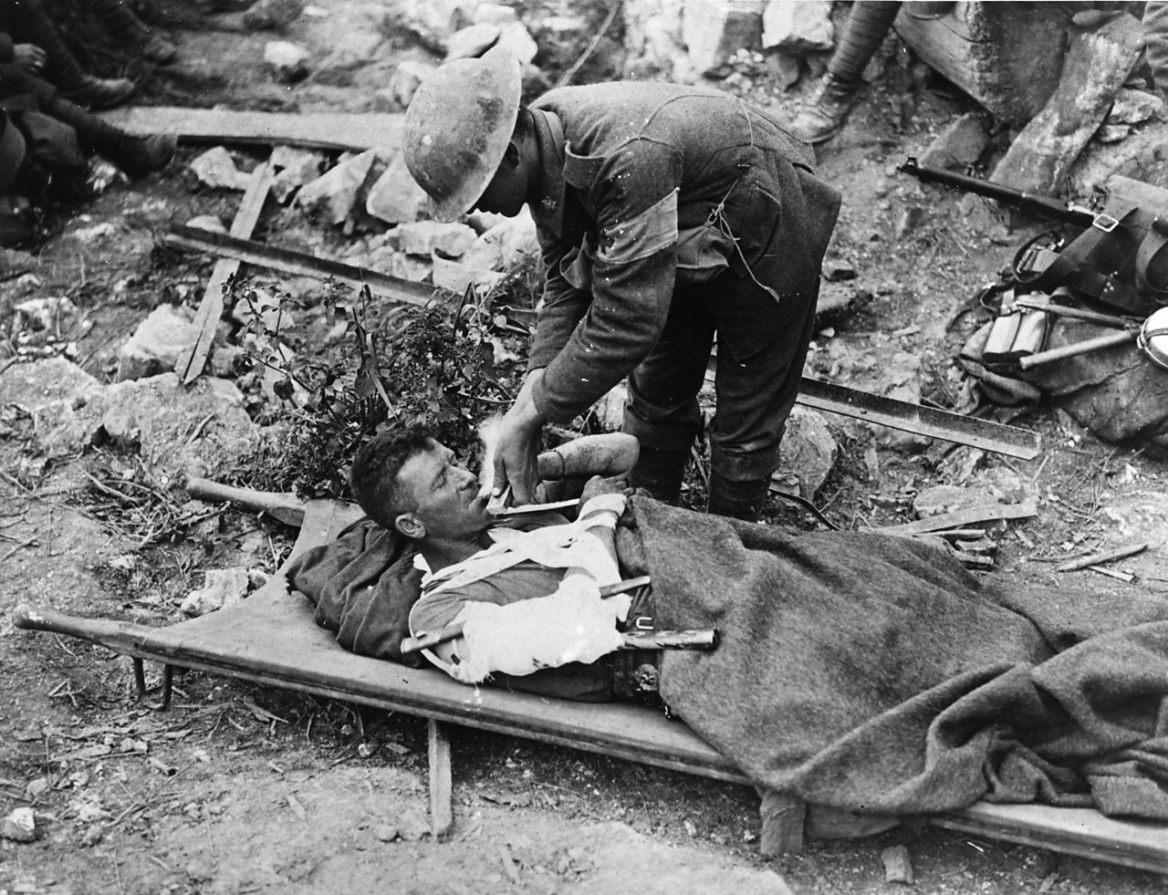 Photograph showing a First World War soldier with an arm splint