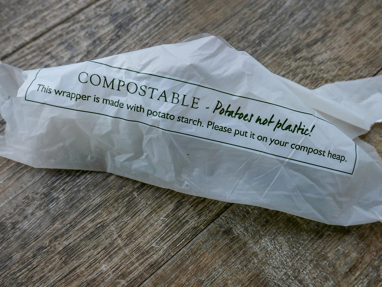 Photograph showing a compostable bag made from potato starch