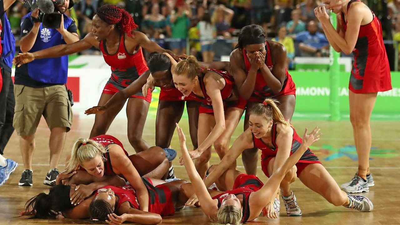 England teammates celebrate winning the gold medal against Australia at the Commonwealth Games 2018.