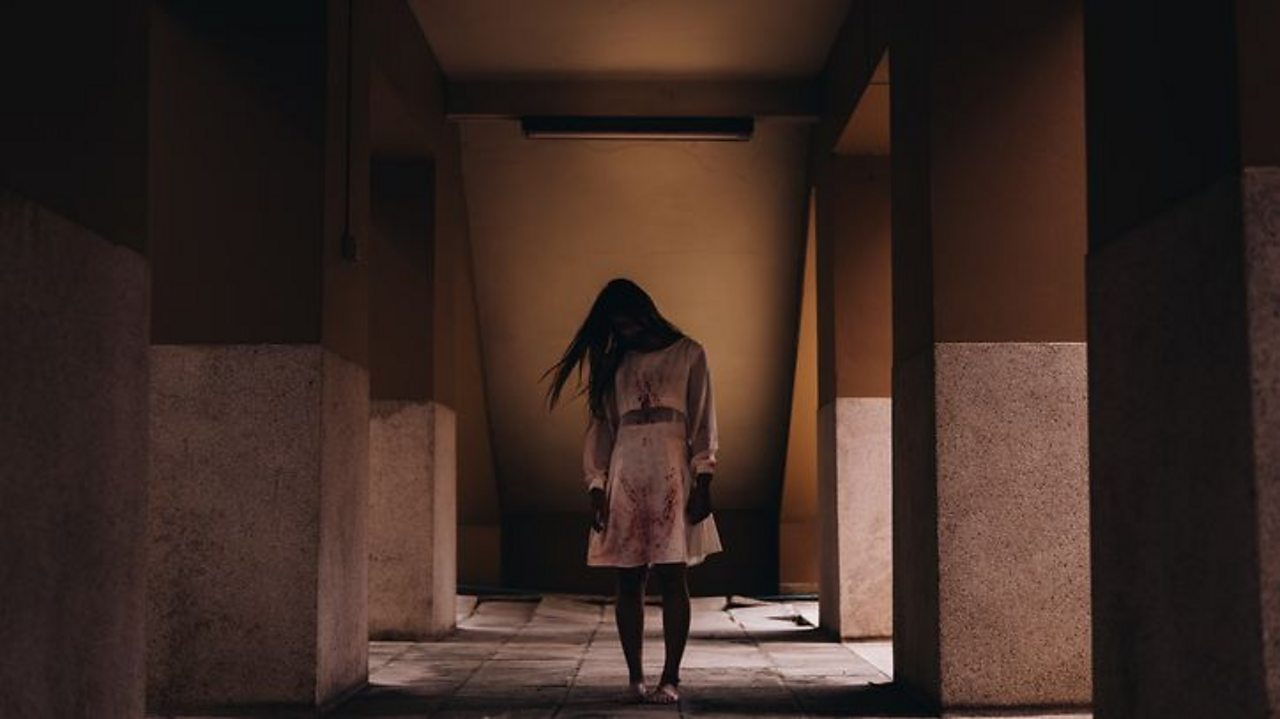 A creepy girl stands in a corridor, long hair covering her face.
