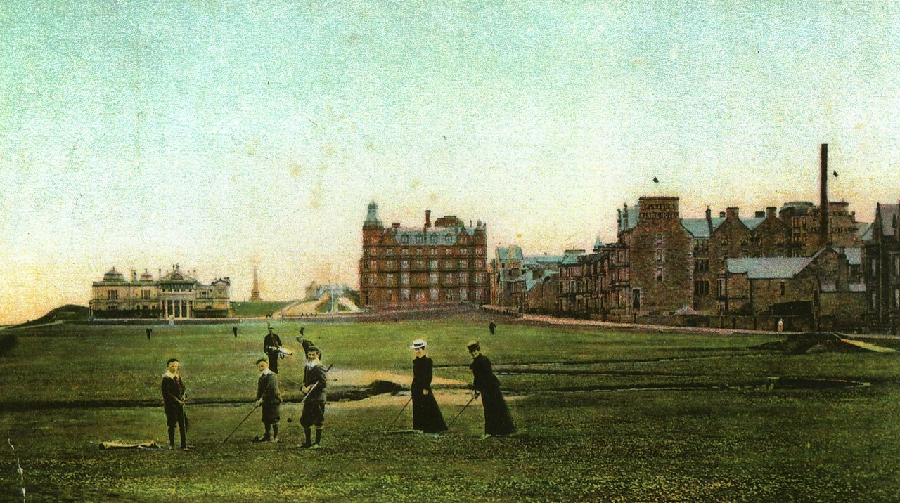 Children and women play golf at St Andrews