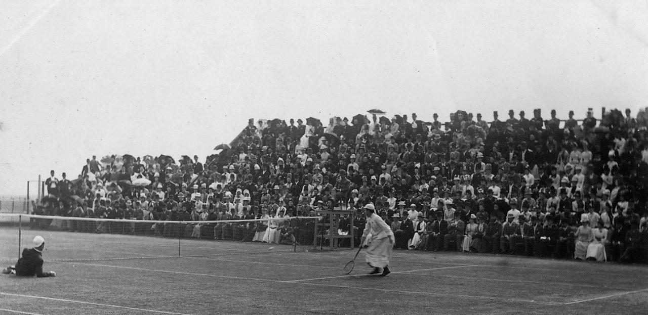 A ladies Victorian tennis match