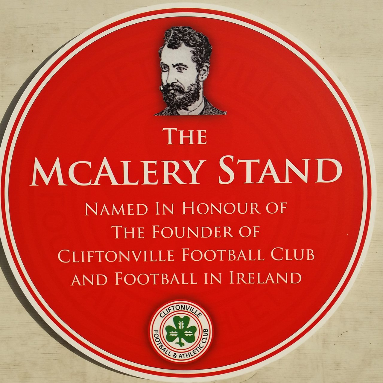 Plaque commemorating John McAlery