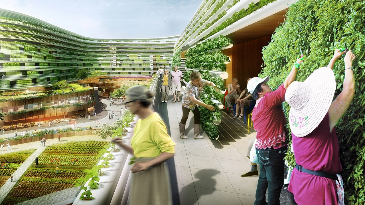 Vertical planting and a vegetable farm are integral to 'Homefarm ', a conceptual proposal for an residential area of Singapore by Spark architects.