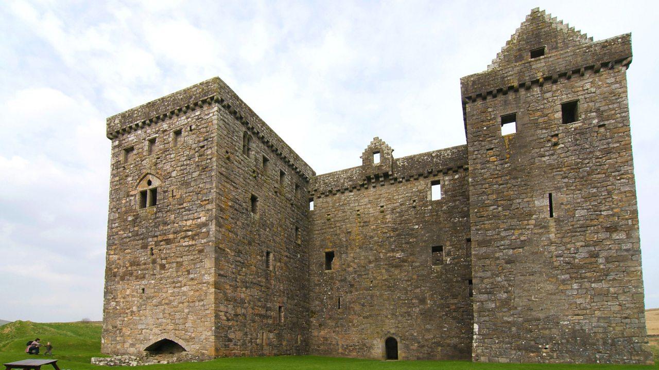 Arrow slits in a castle tower