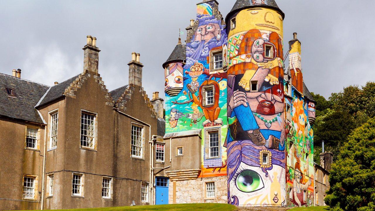 Kelburn Castle covered in colourful graffiti