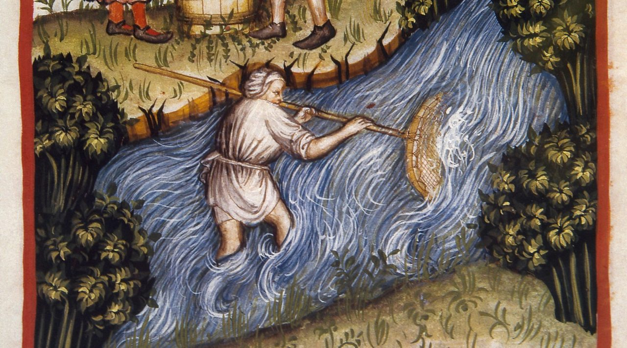 An illustration of someone fishing in a river from a Medieval health handbook