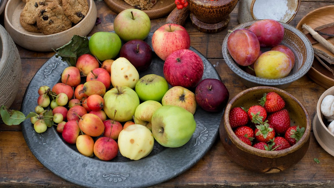Table of medieval fruit at a historical reenactment