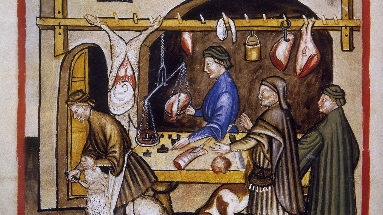 Illustration of butcher's meat being sold at a medieval market (taken from a medieval handbook of health).