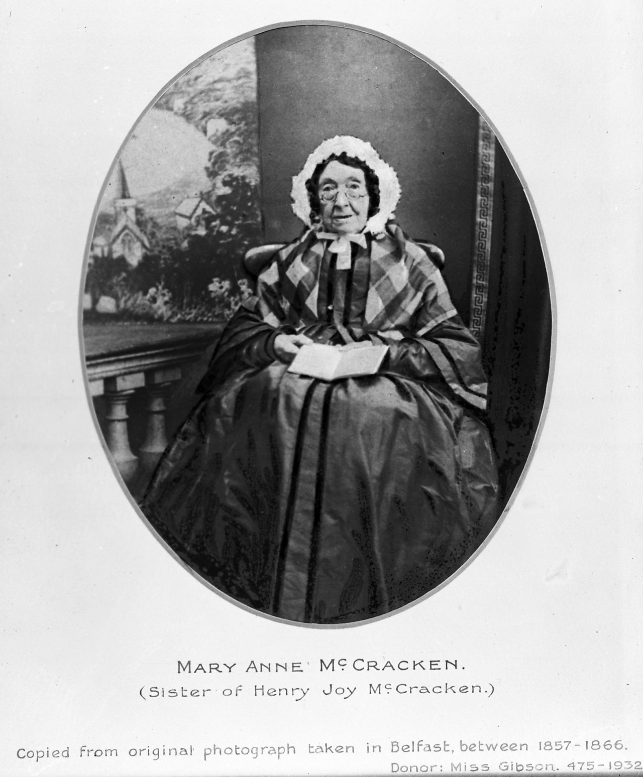 A photograph of an elderly Mary Ann McCracken