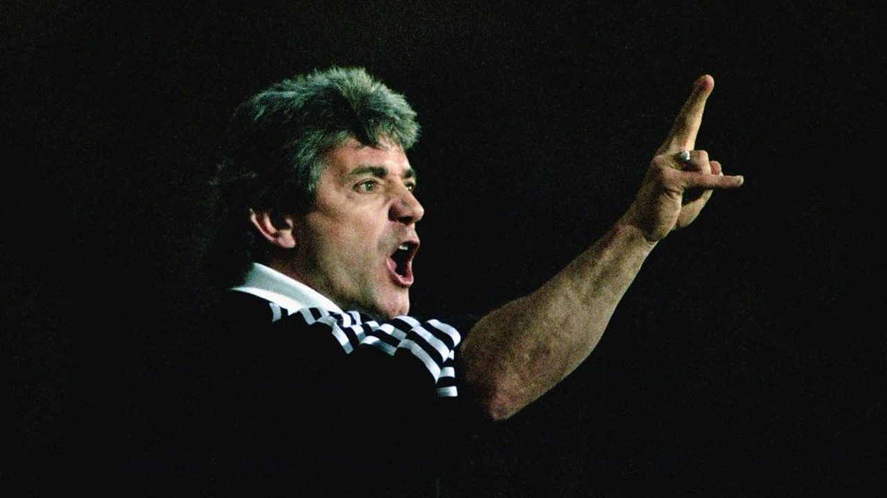 Kevin Keegan reacts during the 2-1 Premier League defeat to Blackburn Rovers at Ewood Park on April 8, 1996