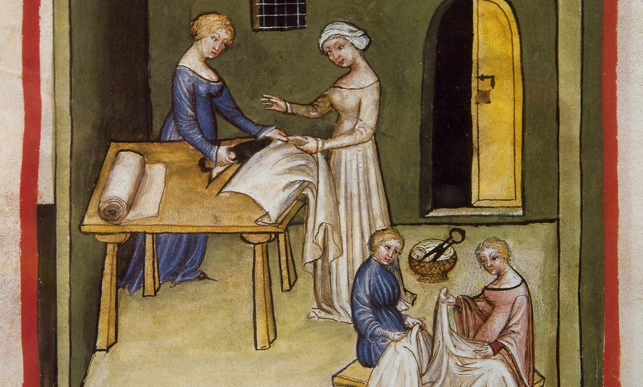 A page from the medieval handbook of health showing women making linen fabric.