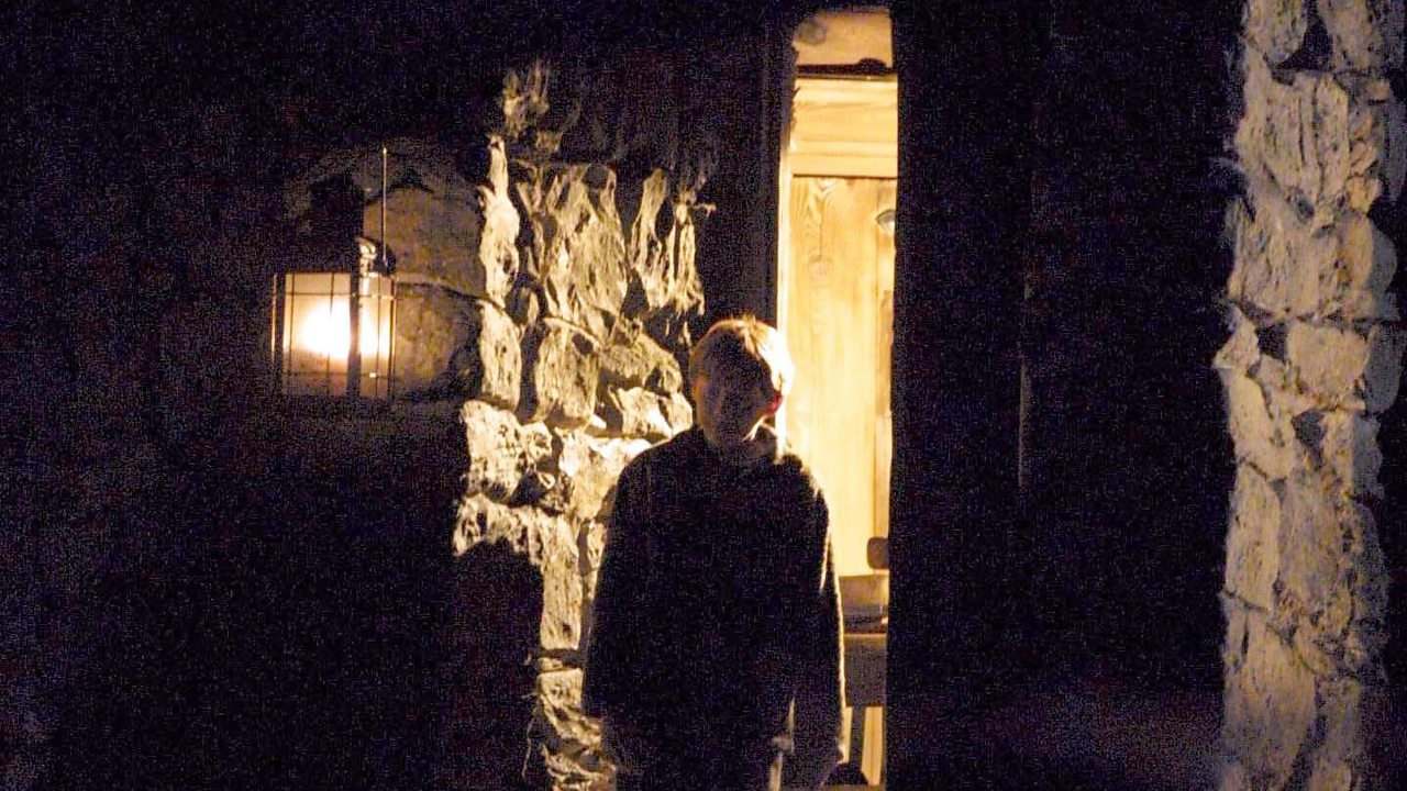 Ron Weasley looks worriedly out into the dark in 'Harry Potter and the Chamber of Secrets'.