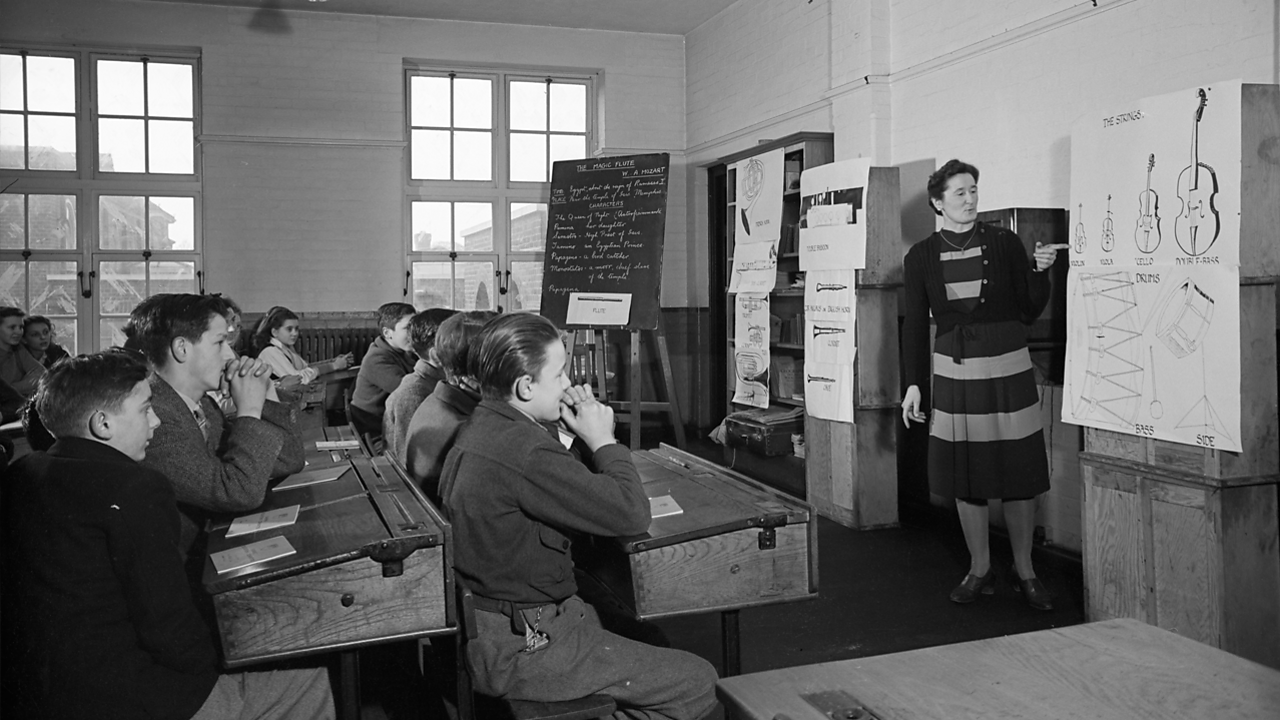 1945 BBC Broadcasts To Schools: Teacher prepares class of 15-year olds for music concert.