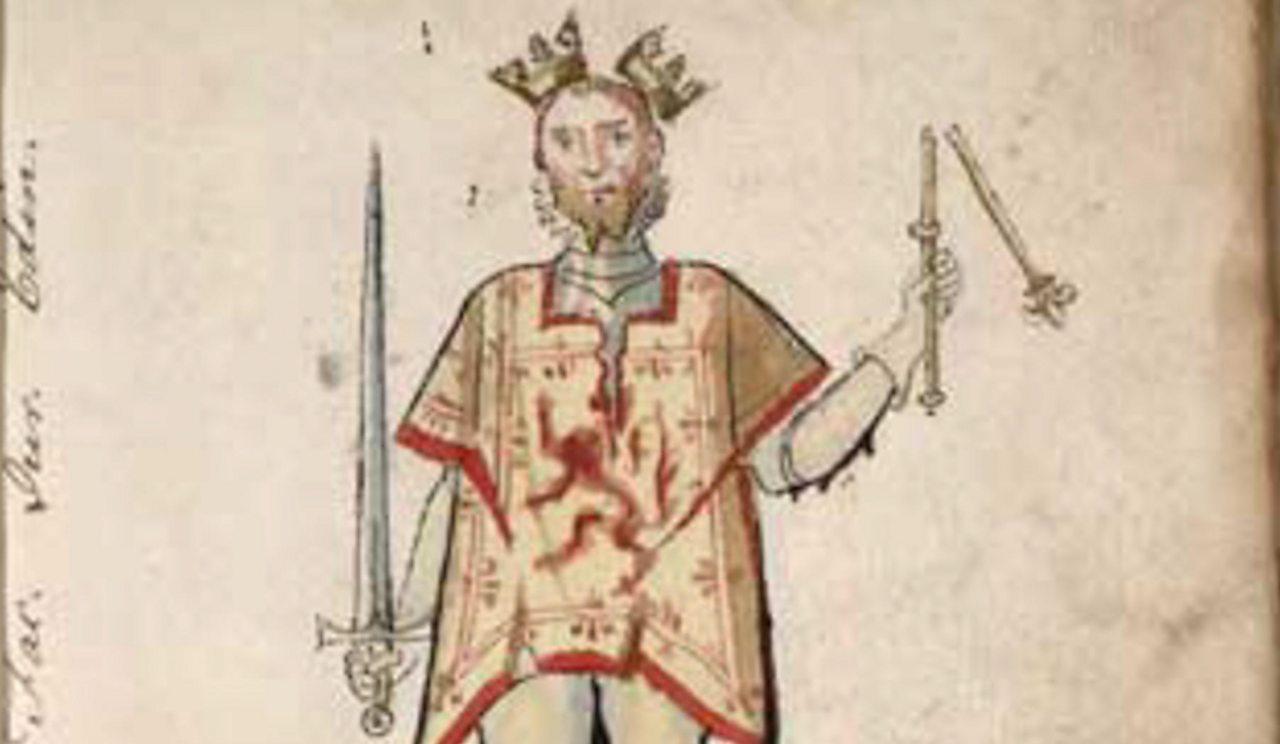 Dealbh bho 1562 a' sealltainn an Rìgh Iain Balliol le slat-shuaicheantais agus crùn briste