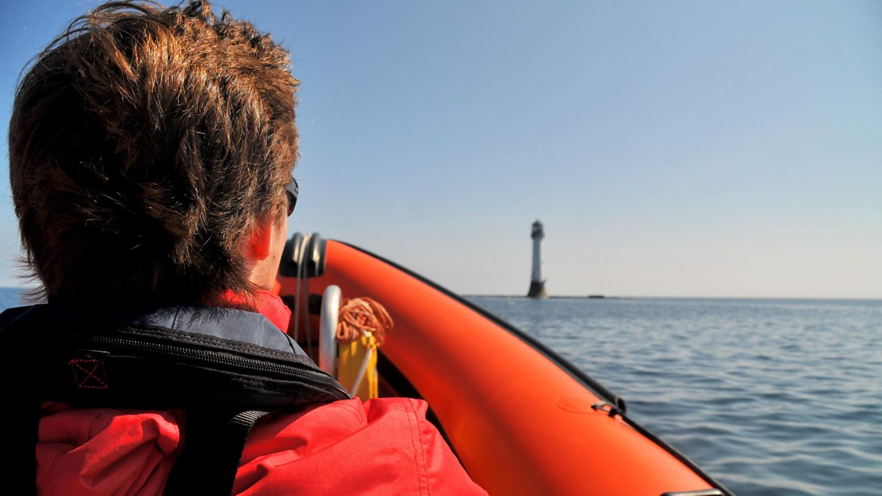 The view from a boat approaching the Bell Rock Lighthouse