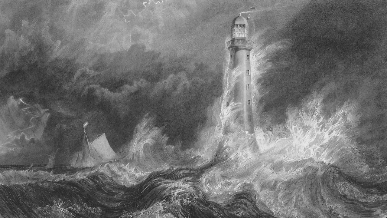 A drawing of the Bell Rock Lighthouse in the middle of a storm