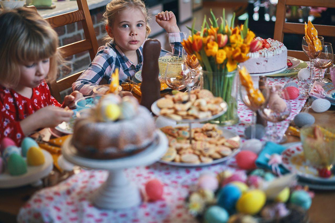 Children celebrating an Easter meal.