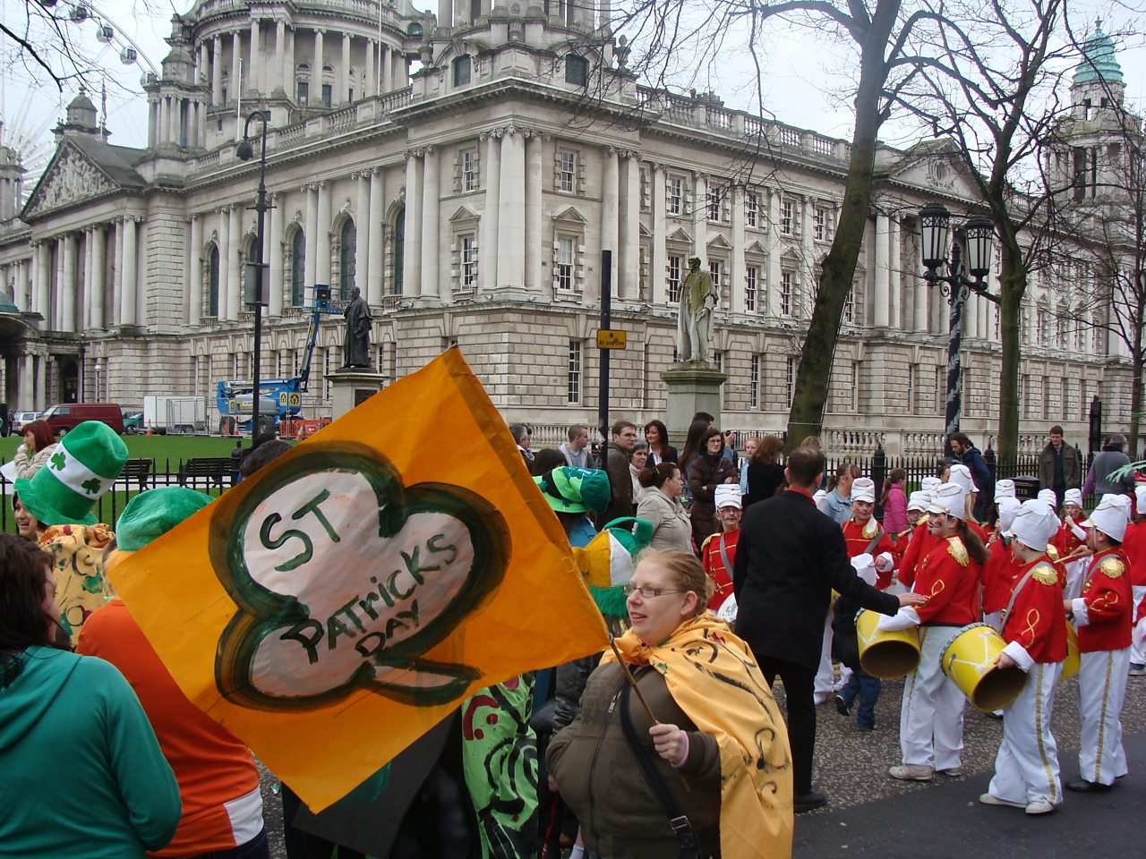 A St Patrick's Day parade outside Belfast City Hall