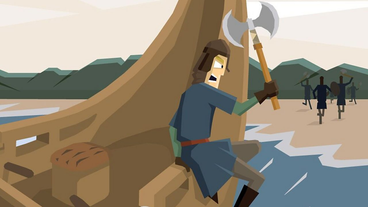 A viking man holding an axe is jumping off a boat to reach the shore.