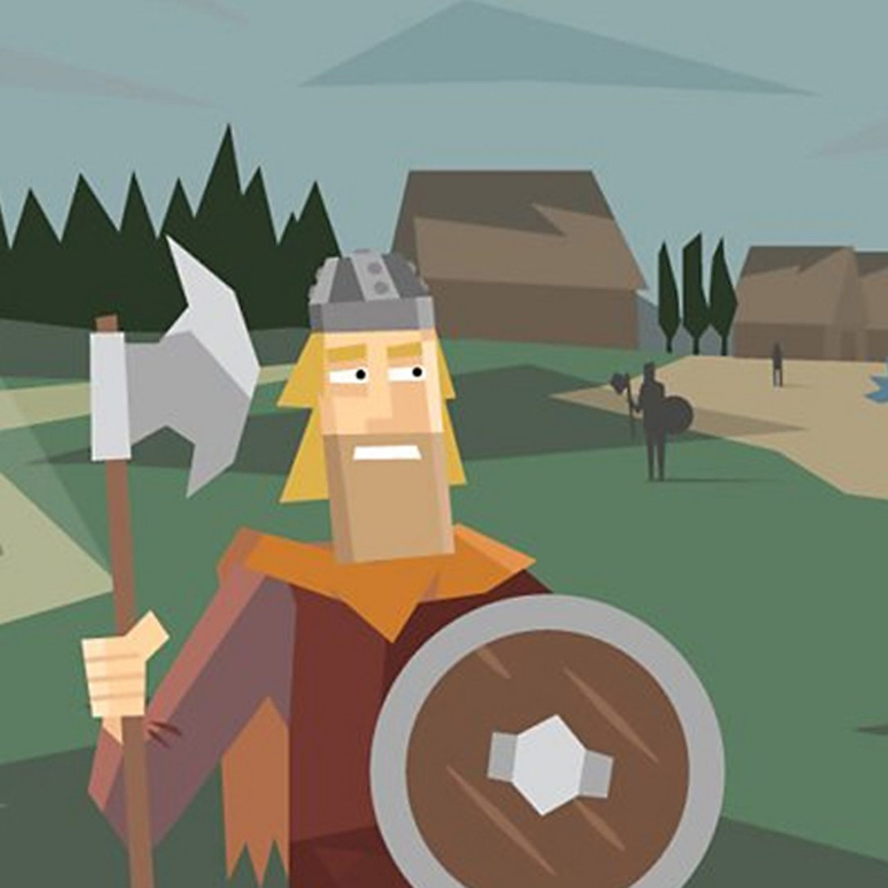 A viking man holding an axe and shield