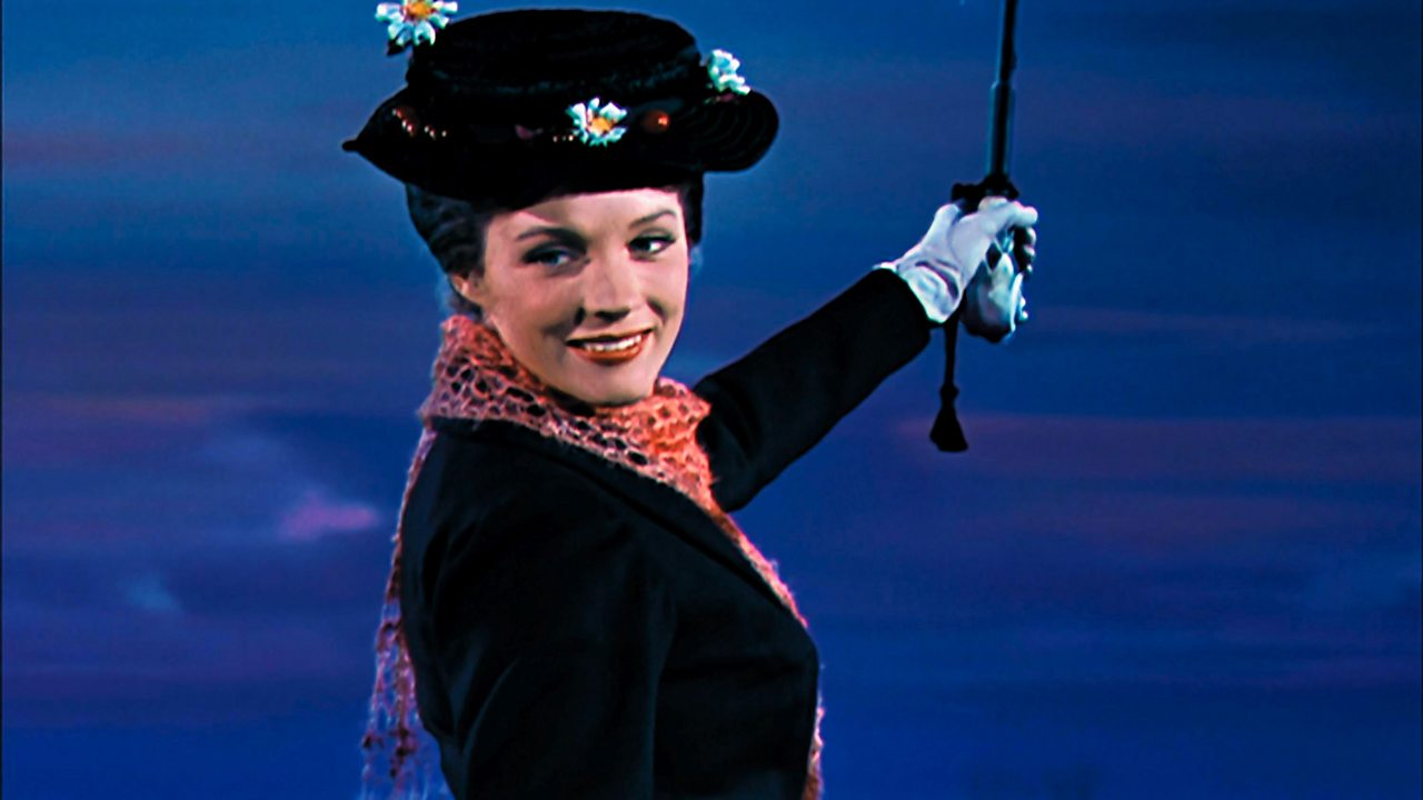 Mary Poppins flying away with her umbrella.