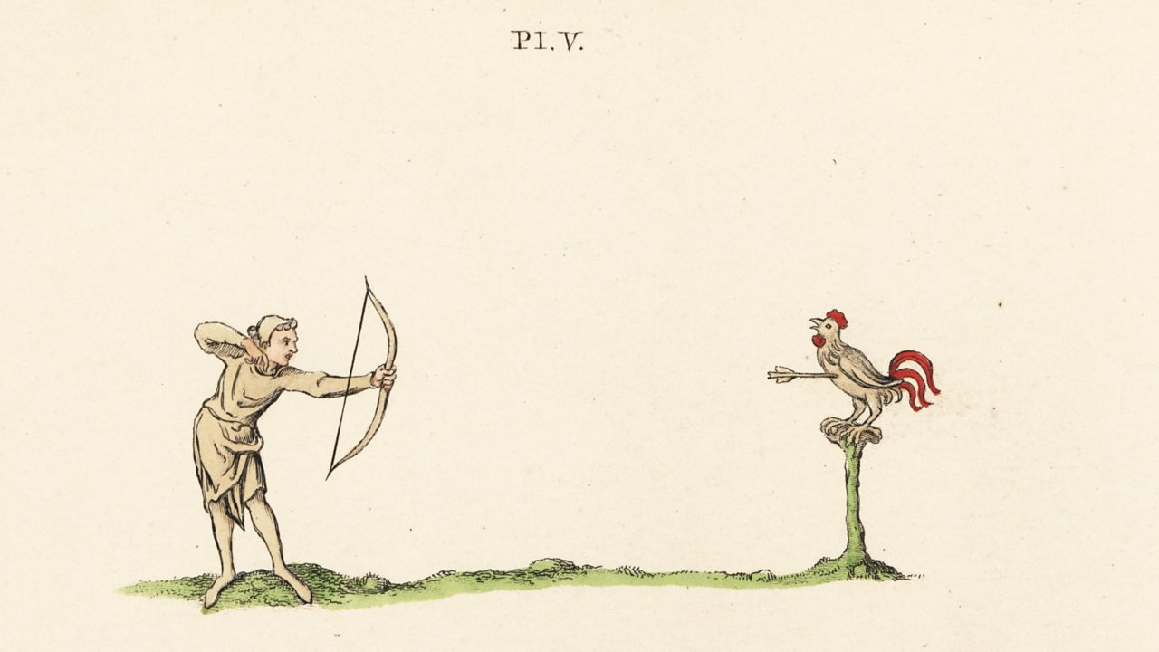 Illustration of archery practice with the bow and rooster target, 14th century