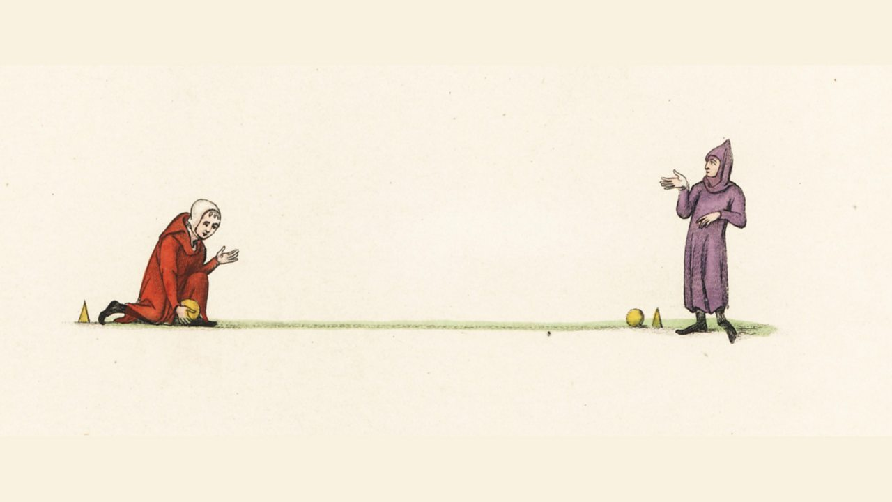 Illustration of medieval bowling. Two men playing bowls with target cones or marks
