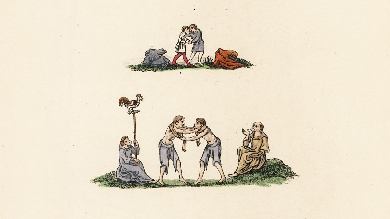 Illustration of medieval wrestling games including prize fight and Hippas